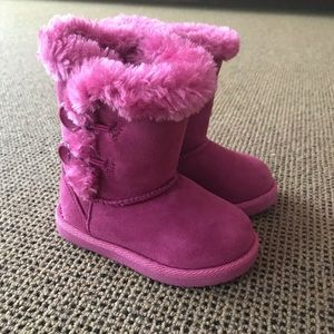Cherokee || Toddler Pink Furry Knee High Boots
